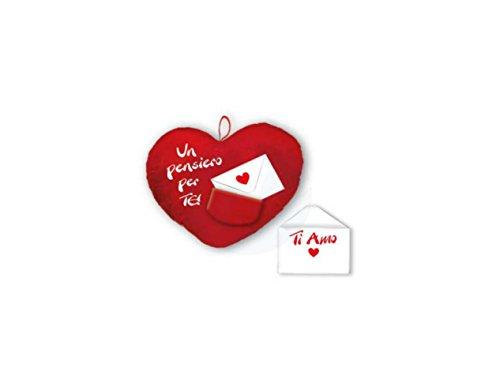 Cuscino forma cuore san valentino con scritta e busta