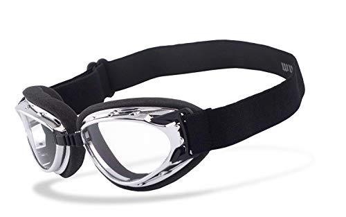 Helly® - No.1 Bikereyes® | beschlagfrei, winddicht, HLT® Kunststoff-Sicherheitsglas nach DIN EN 166 | Motorradbrille | Brillengestell: schwarz, chrom/silber matt, Brille: hurricane 2