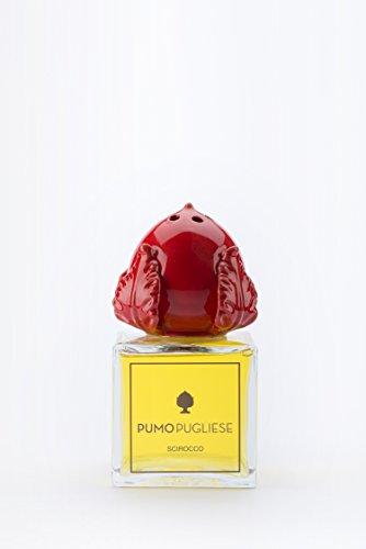 Pumo pugliese - diffusore con bastoncini di legno profuma ambiente - oggetto in ceramica colorata rosso corallo - made in italy - soprammobile per casa - idea regalo - fragranza grecale 200 ml