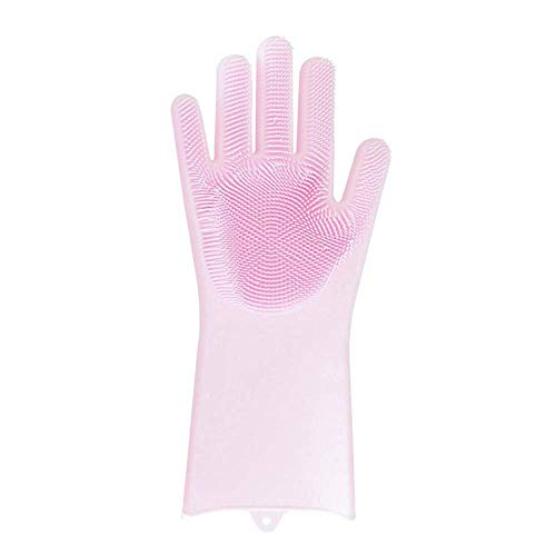 CWeep Silicone Magic SakSak Silicone Cleaning Brush Scrubber Glove Heat Resistant Glove, 100% Silicone Eco-Friendly Dishwashing Brushs for Dish Wash, Cleaning, Kitchen, Pet Hair Care (Pink) - Eco-friendly Hair Brush