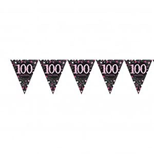 Amscan International-99017644m x 20cm rosa celebración 100º plástico banderín banderines