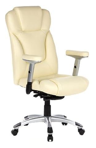 hjh OFFICE 668720 chaise de bureau, fauteuil de bureau EMBASSY 200 crème, siège de direction avec accoudoirs, appuie-tête intégré au dossier inclinable, confortable grâce à son rembourrage épais et souple