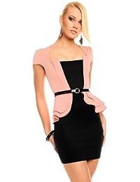 Elegantes Cocktailkleid mit Schößchen Business Kleid lachs/schwarz 36
