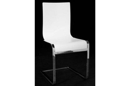 Sedie Bianche Legno : Designer sedia a sbalzo in legno e acciaio cromato bianche sedie per
