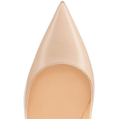 ELASHE - Femmes - Stiletto sexy - Classic talon haut- Cuir synthétique - Grande Taille - Haute couture - Talon aiguille 12CM - Bout pointu fermé Beige-Mat
