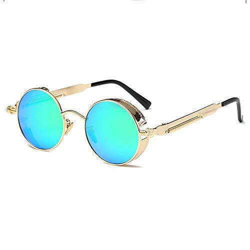 KJDFN Polarisierte Runde Retro- Schwarz- / Silber- / Goldsonnenbrille, Die Brillenmänner Und -Frauen Fährt, Die Fischen-Dampfpunkwind Laufen Lassen Trend (Farbe : Gold)
