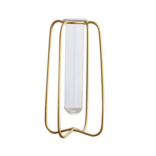 se Dekorative Rohr Vase Metall Halterung Glas Rohr Flasche Pflanze DIY Haus Dekoration Zubeh?r Desktop Vase (S) ()
