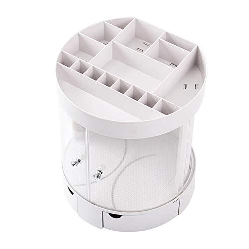 Acrylique cosmétique boîte d'affichage de stockage, couvercle transparent de la poussière et de la base rotative bijoux cosmétiques étui portable cosmétique peut être utilisé comme un cadeau,White