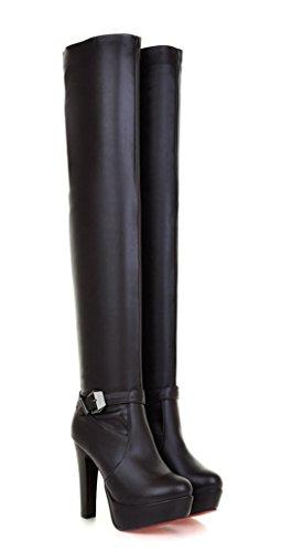 YE Damen Overknee High Heels Plateau Stiefel mit Roter Sohle 12cm Heels Absatz Schnallen Reißverschluss Winterstiefel Wasserdicht Schuhe Braun