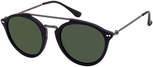 La Optica B.L.M. UV400 CAT 3 Unisex Damen Herren Sonnenbrille Pilotenbrille Rund Doppelsteg - Matt Schwarz (Gläser: Grün klassisch)