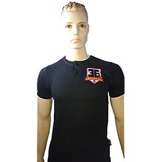Srazda - Tee-shirt noir Col Boutons homme - Coupe ajustée - Manches courtes - Ecusson devant et dans le dos (argent mat, velours rouge et pailleté doré)