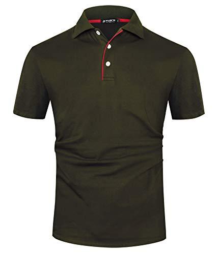 Kuson Herren Poloshirt Kurzarm Patchwork Sommer T-Shirt Men\'s Polo Shirt Baumwolle (M, Grün)