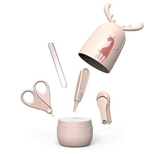 Arrnew set manicure per bebe| kit 4-in-1, con tagliaunghie, forbicine, lima e pinzetta | sicuro, facile da usare|ottima idea regalo per nascita o battesimo|forbici bambini unghie (grigio rosa)