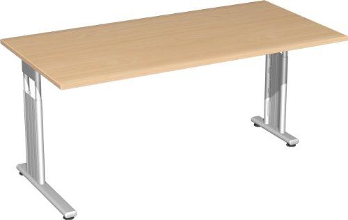 Geramöbel Schreibtisch, 1600x800x720 mm, rechts zurückgesetzt, Buche/Silber