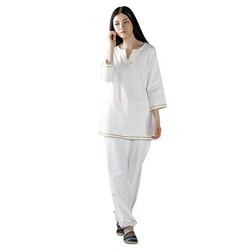 KSUA Damen Meditations Anzug Zen Tai Chi Uniform Chinesische Kung Fu Kleidung Baumwolle (Weiß, EU M) - Kung Fu Uniform
