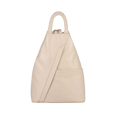 OBC Made in Italy Damen echt Leder Rucksack Lederrucksack Tasche Schultertasche Ledertasche Rucksack Handtasche Nappaleder (Pastell-Rosa)