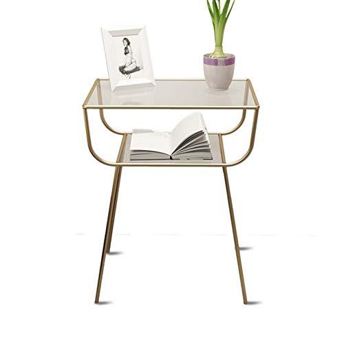 DEO Table basse en verre Table d'appoint Table d'appoint en métal avec plateau en verre (Couleur : Or)