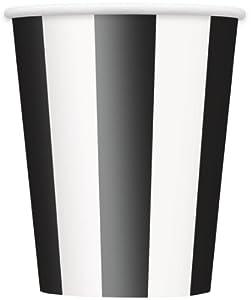 Unique Party Vasos de papel 350 ml (paquete de 6 unidades, rayas negras)