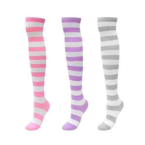 CHIC DIARY Overknee Strümpfe Damen Mädchen Cheerleader Kostüm College Gestreifte Kniestrümpfe Sportsocken Baumwollstrümpfe, 3 Paar(pink/Helllila/Grau+weiß Streifen), (Paar Socken Kostüm)