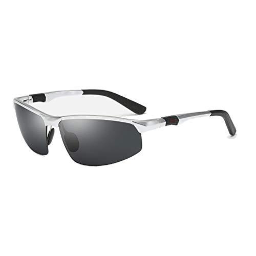 Jinxiaobei Herren Sonnenbrillen Sport Polarisierte Sonnenbrille for Männer Frauen Polarisierte UV400 Sport Sonnenbrille Superlight Frame DesignPolarisierte Sonnenbrille (Color : Silver)