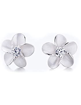Hohe Qualität Silber & Kristall Blume Design Schmetterling Rückseite Ohrstecker