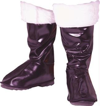 Weichnachtsmann Stiefel-Stulpen mit Kunstfell - schwarz/weiß - One (Adult Deluxe Stiefel Schwarz)