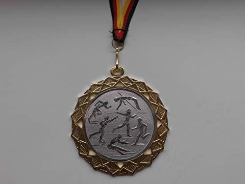 Fanshop Lünen Medaillen - Medaille - Große Stahl 70mm - Gold - Emblem - Leichtathletik - Laufen - Speerwurf - Hochsprung - mit Emblem 50mm (Silber) - (e111) -