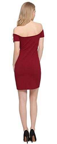 Perfashion -  Vestito  - Reggiseno a fascia - Maniche corte  - Donna Vino M