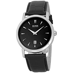 Hugo Boss Men's Quartz Watch with Black Dial Analogue Display and Black Leather Strap 1512637