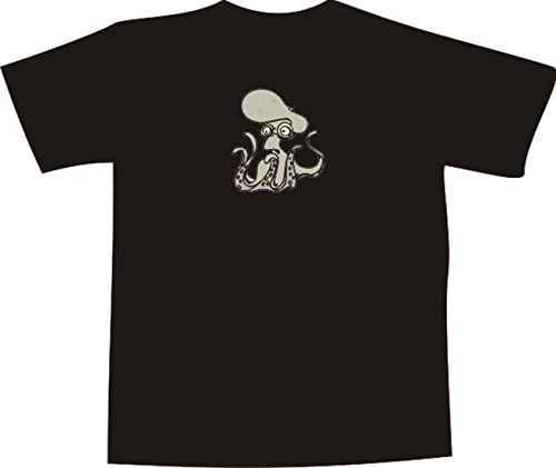 T-Shirt E800 Schönes T-Shirt mit farbigem Brustaufdruck - Logo / Grafik - Comic Design - kleines Oktupus hat Angst Weiß
