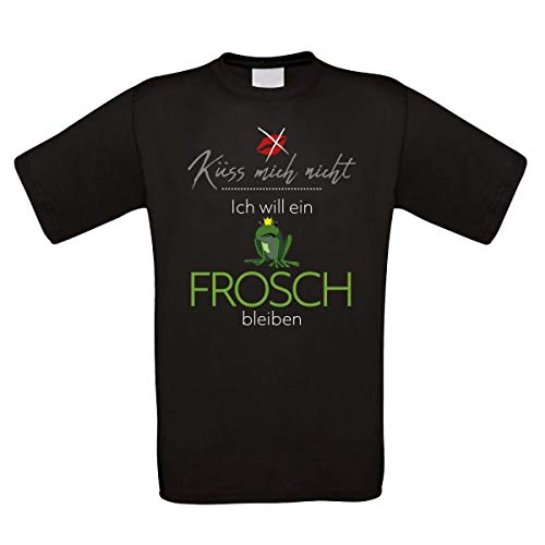 Herren T-Shirt schwarz Modell: Küss Mich Nicht - Ich Will EIN Frosch bleiben.