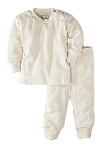 hessnatur Baby und Kinder Schlafanzug - Bio Baumwolle Organic Cotton - unifarben natur (Cotton Schlaf Kleidung)