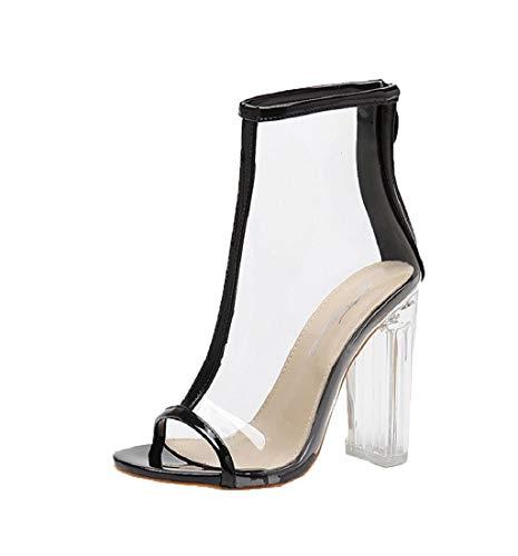HupoopNeue transparente Peep Toe Kunststoff Kurze Stiefel Sexy Frauen Reißverschluss Sandalen(Schwarz,40)