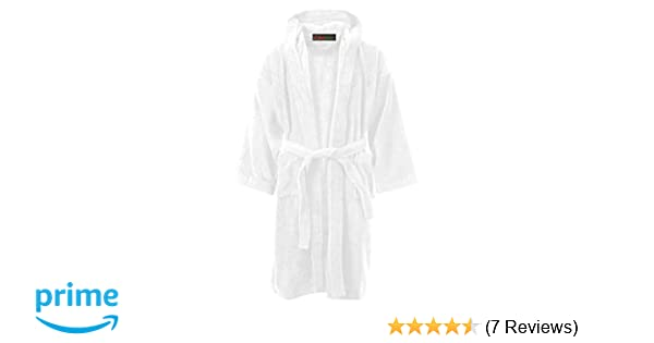 7ea1747651 MyShoeStore Kids Boys Girls Bathrobe 100% Egyptian Cotton Luxury Velour  Towelling Hooded Dressing Gown Soft Fine Comfortable Nightwear Terry ...