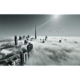 adrium Leinwand-Bild 140 x 90 cm: Dubai Skyline in Fog, Bild auf Leinwand
