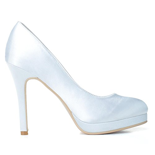 L @ yc Zapatos De Boda Plataforma Mujer P # -900-02 Fiesta Stilettos Satin Party Prom Blanco