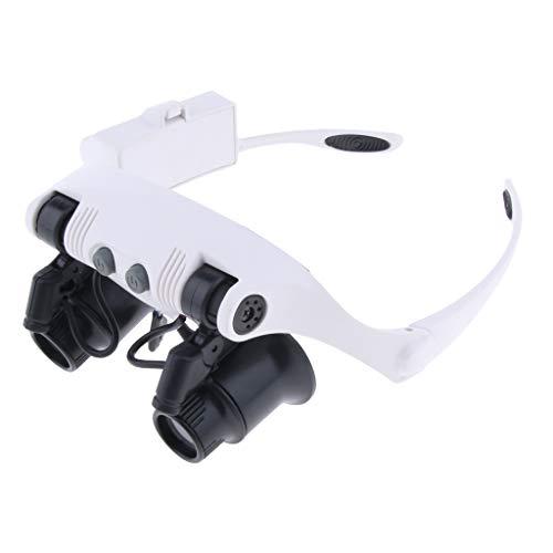 Baoblaze LED Lupenbrille Kopflupe mit Licht 10X 15X 20X 25X Facher Vergrößerung mit 6 Linsen für Lesen, Handwerk, Juweliere, Nähen, 9892GJ