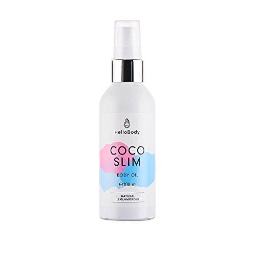 HelloBody Coco Slim huile pour le corps – huile de coco pour raffermissement du tissu conjonctif – huile anti-cellulite riche en Q10 – flacon de 100mL