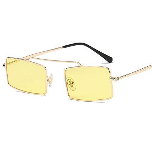 sijiaqi Neue Frauen Metall Sonnenbrille männer kleine quadratische Sonnenbrille weiblich gelb rosa linse Brille kleinen Rahmen Shades Brillen,Style 10