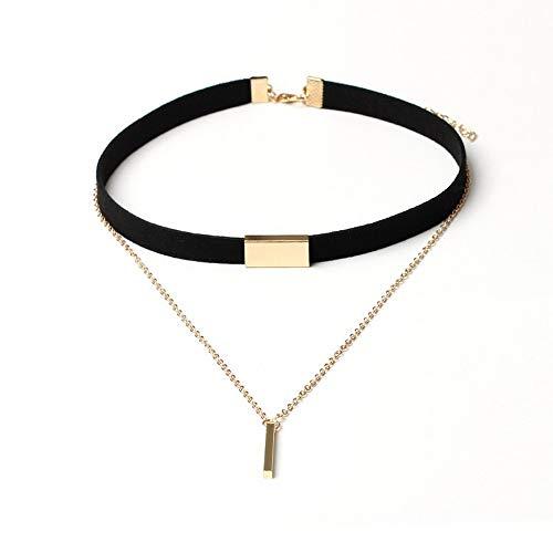 WYTSAA Frauen schwarz Leder Choker Halskette mit Stick Anhänger Schmuck Kette Halsband -