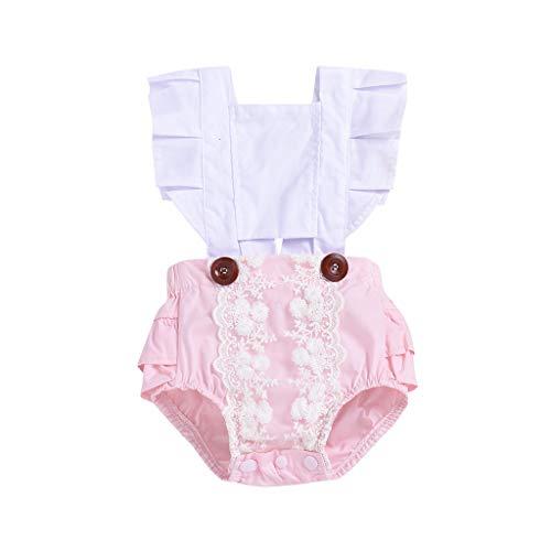 Knowin-baby body Kinder Fliegerärmel mit Gekräuseltem Jumpsuit Strampler aus Spitze mit Ziernähten Bänder Dot Strampler Bodysuit Kleidung Overall(6M-24M)