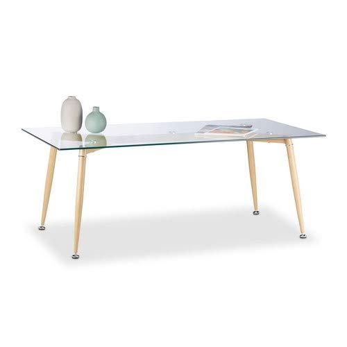 Relaxdays Couchtisch Glas, mit gehärteter Tischplatte, Metallbeine in Holzoptik, HxBxT: 45x120x60 cm, durchsichtig/braun -