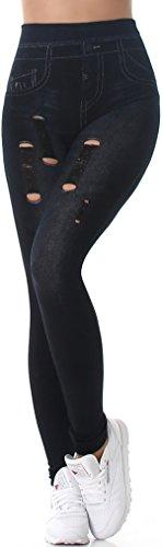 SL1 Damen High-Waist Jeans-Leggings Jeggings Risse Löcher Destroyed-Style Stretch (34/36/38) (3) Schwarz