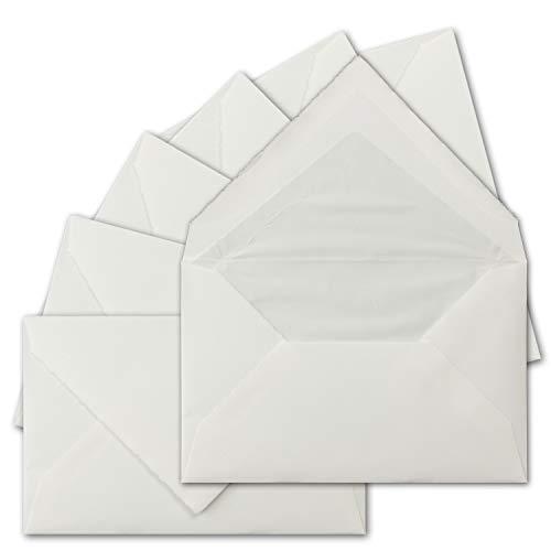 150 Stück C6 Vintage Brief-Umschläge, Echtes Bütten-Papier, 11,4 x 16,2 cm, Weiß halbmatt Gerippt gefütterte Brief-Kuverts - Original Zerkall-Bütten