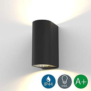 B.K.Licht applique murale LED extérieur intérieur moderne noire, spot mural GU10, 2 spots