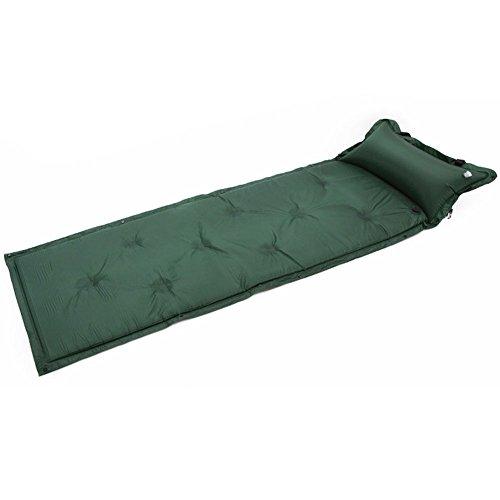 Wasserdicht selbstaufblasende Sleeping Pad, Selbst aufblasende Isomatte mit Kopfkissen aufblasbar Schlafsack Camp Rolle Matratze, Grün