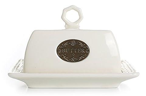 Butterdose aus Porzellan Weiß mit Glocke Butterdish