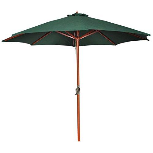 vidaXL Parasol sur Pied Toile Vert & Bois Pare Soleil Jardin Parasol de Plage