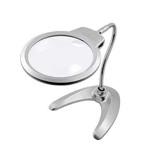 LED illuminato lente d' ingrandimento, lente d' ingrandimento LED lampada da scrivania, 2x 5x lente d' ingrandimento tavolo con luce LED supporto per artigianato controllo di lettura design saldatura cucito etc