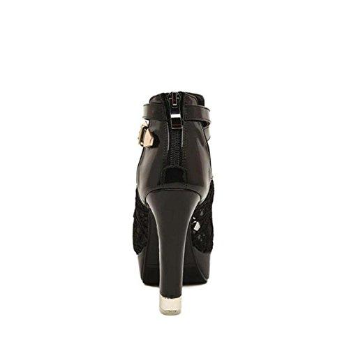 Lemon&T Été massif creux couleur dentelle microfibre Peep-toe Women Rubber Sole 11CM High Heels flatforms One Sandales Boucle Black